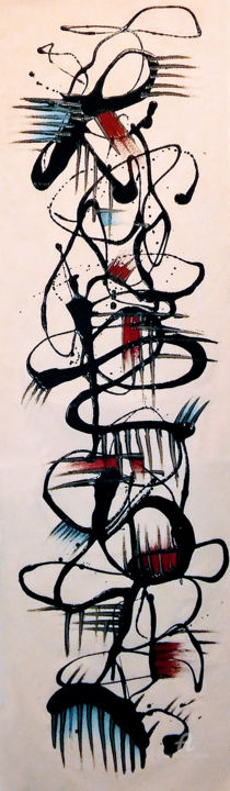 Studio 1 - © 2017 Asemic Writing, Abstract, Abstract Expressionism, Emotions, Scroll, Banner, Resin, Hot, Cold, Spikey Online Artworks