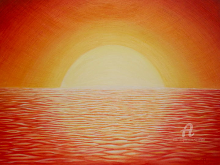 CA Sunset - Painting,  24x18 in ©2012 by Tina Lane -                            Contemporary painting, Sunset, painting of sunset, orange, yellow, sun, sunrise