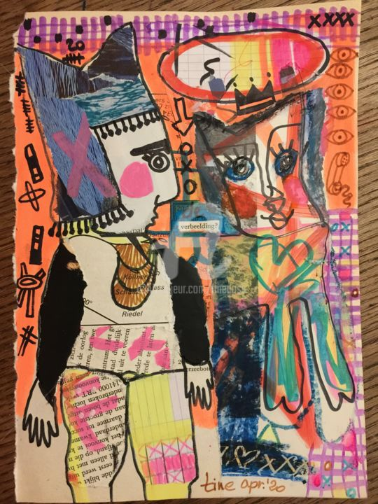 de verbeelding - Collages,  9.5x6.7 in, ©2020 by Martine Dosselaere -                                                                                                                                                                          Expressionism, expressionism-591, Fantasy