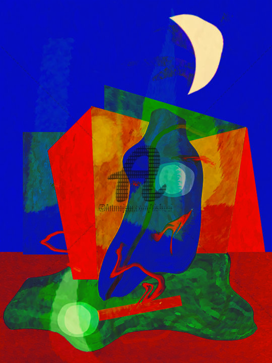 Moonlight figures - Peinture,  15,8x11,8 in, ©2019 par Joost Hogervorst -                                                                                                                          Abstract, abstract-570