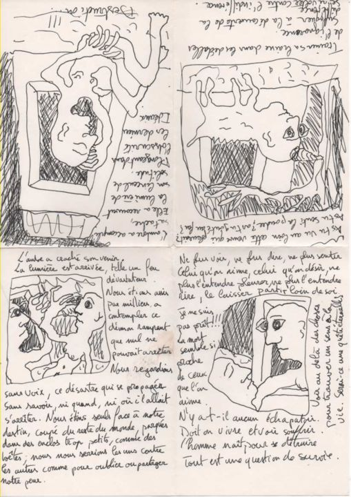Étranges rencontres - Printmaking,  5.8x4.1 in, ©1998 by Titi Montana -                                                                                                                                                                          Outsider Art, outsider-art-1044, Other