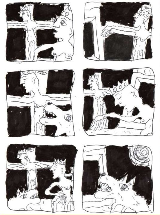 Crucifixions - Printmaking,  11.7x8.3 in, ©1998 by Titi Montana -                                                                                                                                                                          Outsider Art, outsider-art-1044, Other