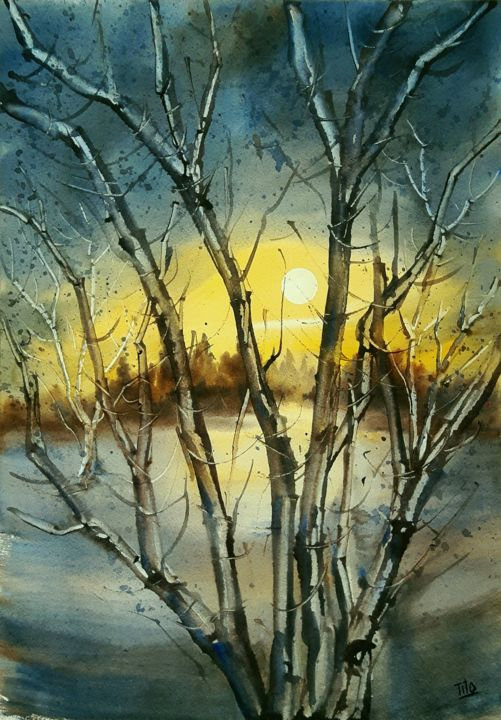 Impressione invernale - Painting,  50x35 cm ©2018 by Tito Fornasiero -                                                                                                            Impressionism, Paper, Tree, Light, Nature, Landscape, Seasons, Acquerelli, Watercolors, Dipinti ad acquerello, Paesaggi, Dipinti di paesaggi, Paesaggi invernali, Paesaggi ad acquerello, Alberi, Sole, Tramonto, Tramonto invernale, Tito Fornasiero