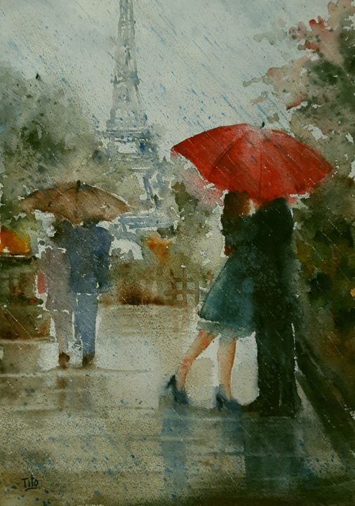 Sous le ciel de Paris - Painting,  50x35 cm ©2017 by Tito Fornasiero -                                                                                                                                                Impressionism, Paper, Water, Love / Romance, Cities, Cityscape, Places, Landscape, People, Seasons, Acquerelli, Watercolors, Dipinti ad acquerello, Watercolor paintings, Innamorati, Parigi, Paris, Innamorati a Parigi, Pioggia, Ombrelli, Paesaggi, Dipinti romantici, Romanticismo, Tito Fornasiero