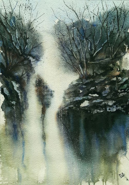 Cascata d'inverno - Painting,  19.7x13.8 in, ©2018 by Tito Fornasiero -                                                                                                                                                                                                                                                                                                                                                                                                                                                                                                                                                                                                                                                                                                                                                                                                                      Impressionism, impressionism-603, Water, Tree, Nature, Landscape, Mountainscape, Acquerelli, Watercolors, Dipinti ad acquerello, Paesaggi, Paesaggi ad acquerello, Cascata, Cascata d'inverno, Paesaggio con cascata, Paesaggi invernali, Tito Fornasiero