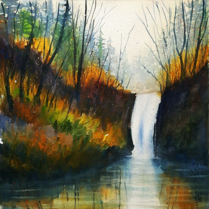 Cascata d'autunno - Painting,  35x35 cm ©2018 by Tito Fornasiero -                                                                                                                        Impressionism, Paper, Water, Tree, Light, Nature, Landscape, Seasons, Acquerelli, Watercolors, Dipinti ad acquerello, Paesaggi, Paesaggi ad acquerello, Acquerelli di paesaggi, Cascata, Paesaggi con cascata, Bosco, Lago, Acqua, autunno, Paesaggi autunnali, Tito Fornasiero