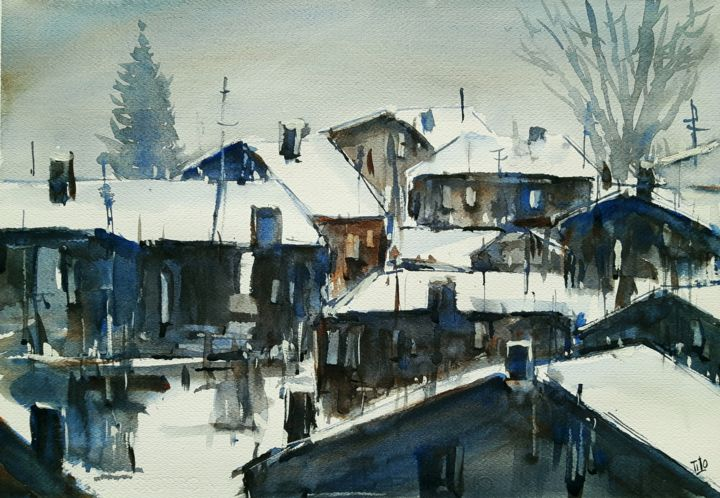 Inverno #32 - Painting,  34x49 cm ©2019 by Tito Fornasiero -                                                                                                            Impressionism, Paper, Home, Cities, Landscape, Mountainscape, Seasons, Acquerelli, Watercolors, Dipinti ad acquerello, Paesaggi, Paesaggi invernali, Paesaggi ad acquerello, Inverno, Paesaggi innevati, Villaggio con neve, Tito Fornasiero