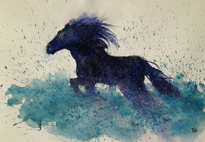 The blue horse - Painting,  34x49 cm ©2019 by Tito Fornasiero -                                                                                                            Impressionism, Paper, Water, Animals, Horses, Nature, Seascape, Acquerelli, Watercolors, Dipinti ad acquerello, Cavallo, Acquerelli di animali