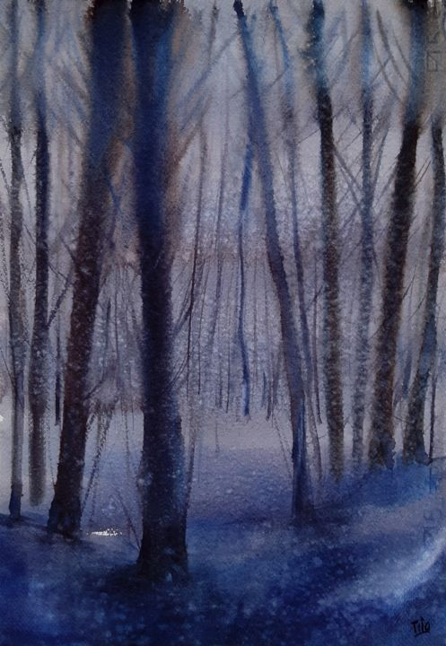 Inverno blu (Blue winter) - Painting,  49x34 cm ©2019 by Tito Fornasiero -                                                                                                            Impressionism, Paper, Tree, Nature, Landscape, Mountainscape, Seasons, Acquerelli, Watercolors, Dipinti ad acquerello, Watercolor paintings, Paesaggi, Paesaggi ad acquerello, Paesaggi invernali, Paesaggi neve, Bosco d'inverno, Tito Fornasiero