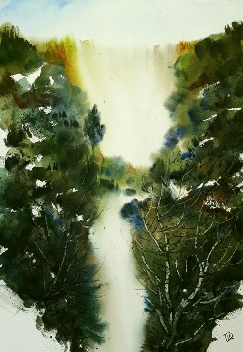 Cascate - Painting,  49x34 cm ©2019 by Tito Fornasiero -                                                                                                            Impressionism, Paper, Water, Tree, Nature, Landscape, Mountainscape, Acquerelli, Watercolors, Dipinti ad acquerello, Paesaggi, Paesaggi ad acquerello, Cascata, Paesaggi con cascate, Alberi, Tito Fornasiero