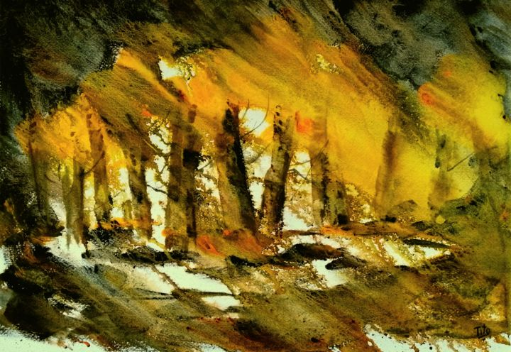Bosco in giallo - Painting,  34x49 cm ©2019 by Tito Fornasiero -                                                                                                                        Impressionism, Contemporary painting, Paper, Tree, Colors, Nature, Landscape, Seasons, Acquerelli, Watercolors, Dipnti ad acquerello, Paesaggi, Paesaggi ad acquerello, Bosco, Foresta, Alberi, Tito Fornasiero