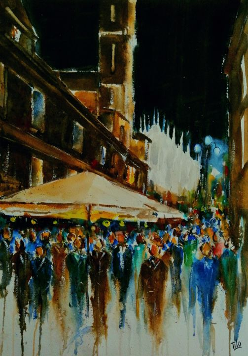 Notturno milanese - Painting,  19.7x13.8 in, ©2019 by Tito Fornasiero -                                                                                                                                                                                                                                                                                                                                                                                                                                                                                                                                                                                                                                                                                                                                                                          Impressionism, impressionism-603, Cities, Places, Landscape, Acquerelli, Watercolors, Dipinti ad acquerello, Paesaggi, Paesaggi ad acquerello, Watercolor lanscape, Milano, Acquerelli di Milano, Notturno, Milano di notte, Paesaggi urbani