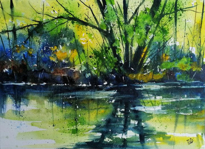 Autunno giallo e blu - Painting,  9.8x13.8x0.4 in, ©2019 by Tito Fornasiero -                                                                                                                                                                                                                                                                                                                                                                                                                                                                                                                                                                                                                                                                                                                                                                          Impressionism, impressionism-603, Water, Tree, Nature, Landscape, Seasons, Acquerelli, Watercolors, Dipinti ad acquerello, Paesaggi, Paesaggi ad acquerello, Acquerelli di paesaggi, Autunno, Paesaggi autunnali, Tito Fornasiero