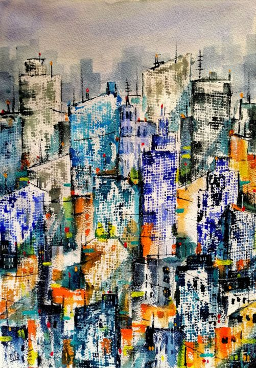 Alveari umani - Painting,  19.7x13.8 in, ©2020 by Tito Fornasiero -                                                                                                                                                                                                                                                                                                                                                                                                                                                                                                                                                                                                                                                                                                                                                                                                                      Conceptual Art, conceptual-art-579, Architecture, Home, Cities, Cityscape, Landscape, Acquerelli, Watercolors, Dipinti ad acquerello, Paesaggi, Paesaggi urbani, Città, Agglomerato urbano, Metropoli, Grattacieli, tito Fornasiero