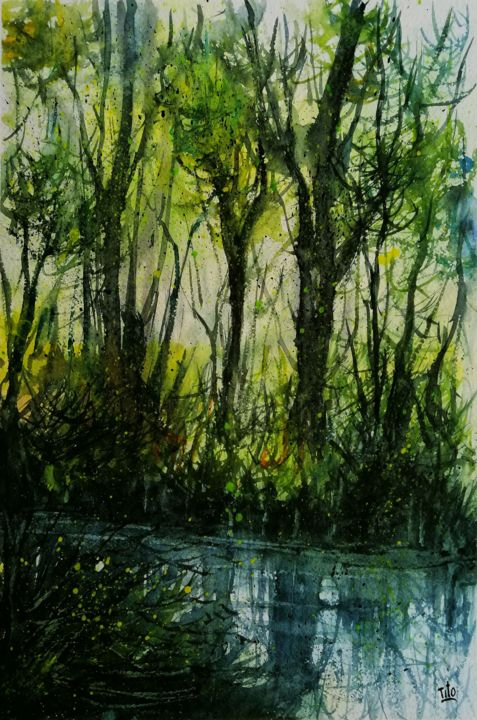 Verde - Painting,  17.3x11.4 in, ©2020 by Tito Fornasiero -                                                                                                                                                                                                                                                                                                                                                                                                                                                                                                                                                                                                                                                                                                                              Impressionism, impressionism-603, Water, Tree, Nature, Landscape, Acquerelli, Dipinti ad acquerello, Watercolours, Paesaggi, Paesaggi ad acquerello, Alberi, Bosco, Campagna, Tito Fornasiero