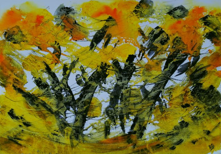 Astrazione in giallo - Painting,  13.8x19.7 in, ©2020 by Tito Fornasiero -                                                                                                                                                                                                                                                                                                                                                                                                                                                                                                                                                                                                                                                                                  Abstract, abstract-570, Abstract Art, Colors, Landscape, Acquerelli, Watercolours, Dipinti ad acquerello, Astratti, Astratti ad acquerello, Dipinti astratti, Giallo, Paesaggio astratto, Tito Fornasiero