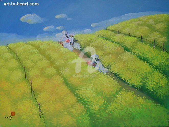 """Painting titled """"Ao dai Oil painting…"""" by To Ngoc, Original Art, Oil"""