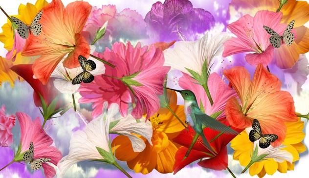 """Digital Arts titled """"flower collage"""" by Todd Amen, Original Art, Collages"""