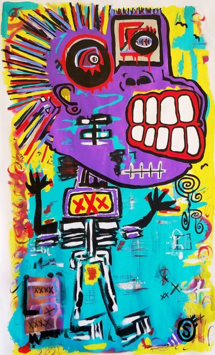 Southern Belle - Painting,  53x31x0.1 in ©2017 by Todd Serlin -                                                                                                                                    Abstract Expressionism, Contemporary painting, Figurative Art, Street Art (Urban Art), Canvas, Body, Fantasy, Graffiti, Women, bold, violet, female, basquait, primitive, coloful, street art, primativism, figurative