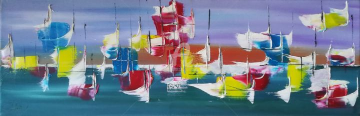 """""""SOUFFLE"""" - Painting,  7.9x23.6x0.8 in, ©2018 by CARA -                                                                                                                                                                                                                                                                                              Sailboat, Colors, Seascape, marine, voiles, couleurs"""