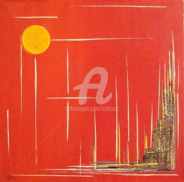 VILLE Nouvelle Rouge - Painting,  15.8x19.7 in, ©2012 by CARA -                                                                                                                                                                          Abstract, abstract-570, Acrylique sur toile