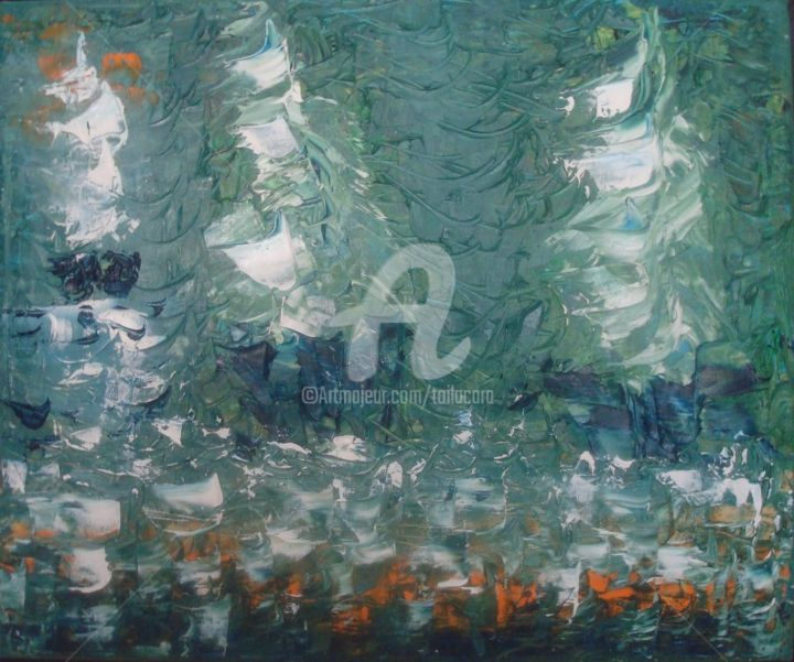TRAFAL - Painting,  15x18.1 in, ©2012 by CARA -                                                                                                                                                                                                                          Abstract, abstract-570, Sailboat, Huile sur toile:46 x 38 :Impression bateaux sur fond vert