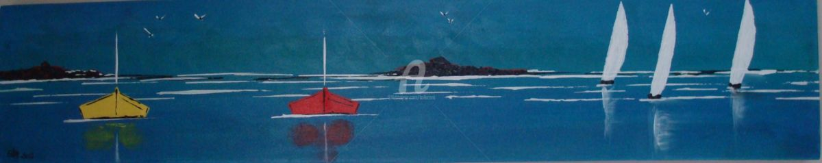 BARQUES BLEUES - Painting,  100x20 cm ©2012 by CARA -                            Contemporary painting, Acrylique sur toile, marine