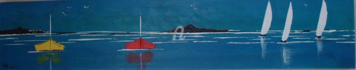 BARQUES BLEUES - Painting,  7.9x39.4 in, ©2012 by CARA -                                                                                                          Acrylique sur toile, marine