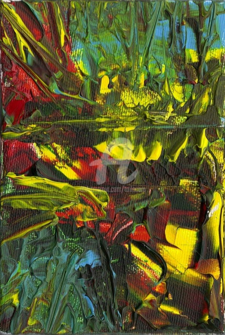 Le LAC - Painting,  18x12 cm ©2012 by CARA -                            Abstract Art, Acrylique sur toile