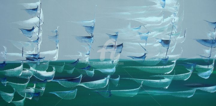 """Les 40èmes-Opus 2"" - Painting,  15.8x31.5 in, ©2013 by CARA -                                                                                                                                                                                                                          Abstract, abstract-570, Sailboat, Esquifs au vent sur flots émeraude et ciel gris."