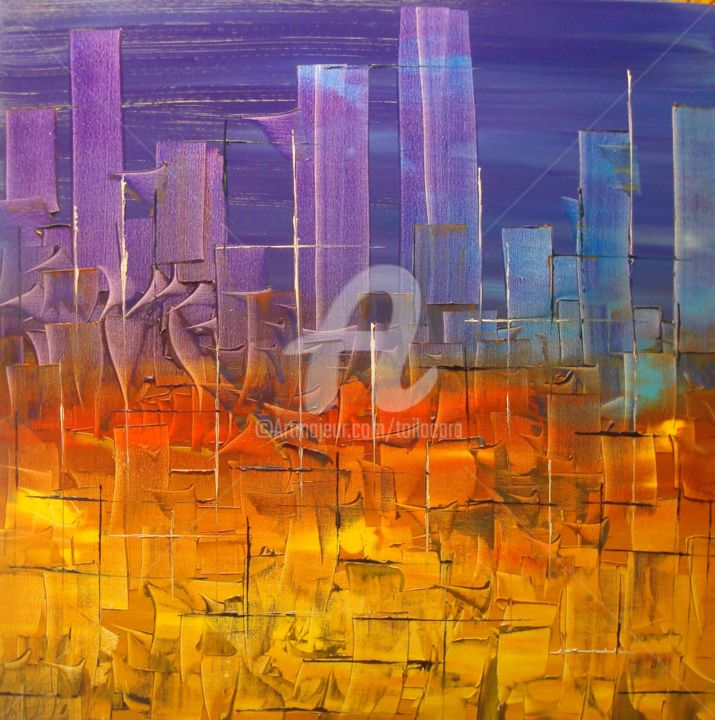 """VEGAS"" - Painting,  27.6x27.6 in, ©2013 by CARA -                                                                                                                                                                                                                                                                                                                                                                                                                                                      Abstract, abstract-570, Abstract Art, Huile sur toile, Vegas, ville la nuit, abstrait, Caradec PHILIPPE, Cara"