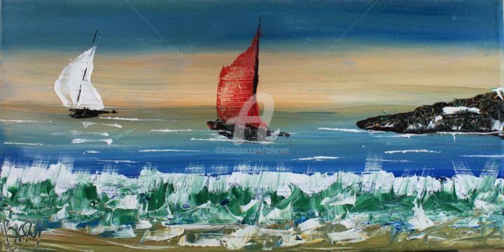 """2015-005- """"VOILE ROUGE - Painting,  7.9x15.8x0.8 in, ©2015 by CARA -                                                                                                                                                                                                                                                                                                                                                                                      Boat, Sailboat, Ships, Landscape, bateau, voile, mer, paysage"""