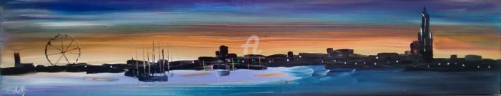 "2015-008-"" ROYAN by night "" - Painting,  20x100x5 cm ©2015 by CARA -                                                                                                            Figurative Art, Canvas, Colors, Seascape, Cityscape, Beach, Cities, Royan, la grande conche, lumières, ville la nuit, Grande roue, ciel"
