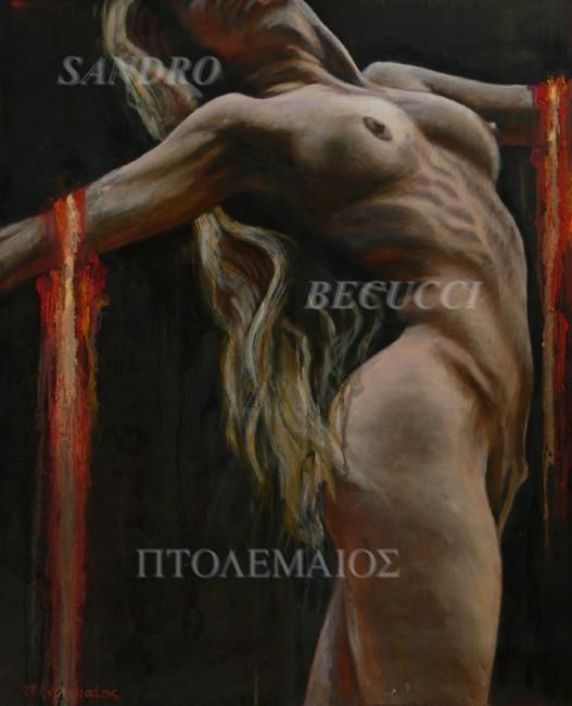 TORSO - Painting,  41.3x33.5x0.4 in, ©2009 by Tolemaios -                                                                                                                                                          Nude, Oil italian Figurative paintings; Sandro Becucci Tolemaios; surrealism; female nude, cloudscape; rough relief surfice texture