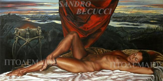 L'ULTIMA ACROPOLI - Painting,  23.6x47.2x0.4 in, ©2009 by Tolemaios -                                                                                                          Oil italian Figurative  Fine Arts Old fashon paintings; Sandro Becucci Tolemaios; surrealism;Mythic Mystic Realism; female nude, Portrait;Cloudscape; smoke helices; campfires; temples; woods;  river; drapery; aflame brazer; lake; sunset; female nude