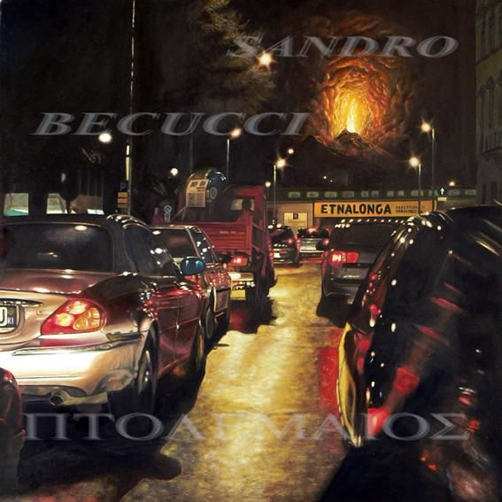 ETNALONGA - Painting,  31.5x31.5x0.4 in, ©2003 by Tolemaios -                                                                                                                                                                          Surrealism, surrealism-627, oil paintings; italian paintings; Figurative paintings; Sandro Becucci; Tolemaios; Fine Arts Paintings; urban landscape; nocturne; traffic;  Architecture; cars;  Vulcan