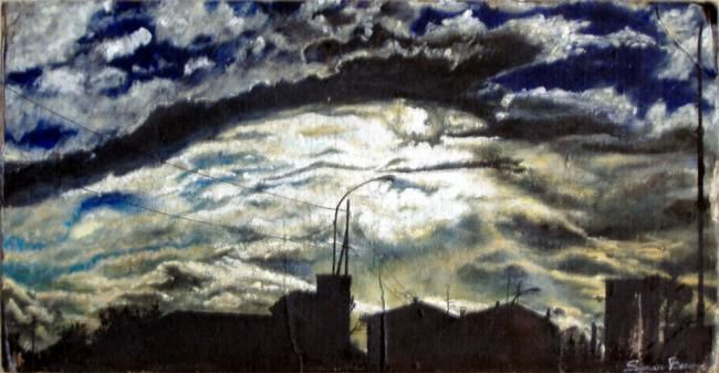 TRAMONTO A S.P. A PONTI - Painting,  11.8x27.6x0.4 in, ©2002 by Tolemaios -                                                              landscape; cloudy sunset with sun after the rain.