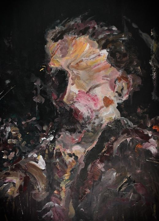 no title - Painting,  39.4x27.6 in, ©2018 by Tom Melsen -                                                                                                                                                                          Abstract, abstract-570, Portraits