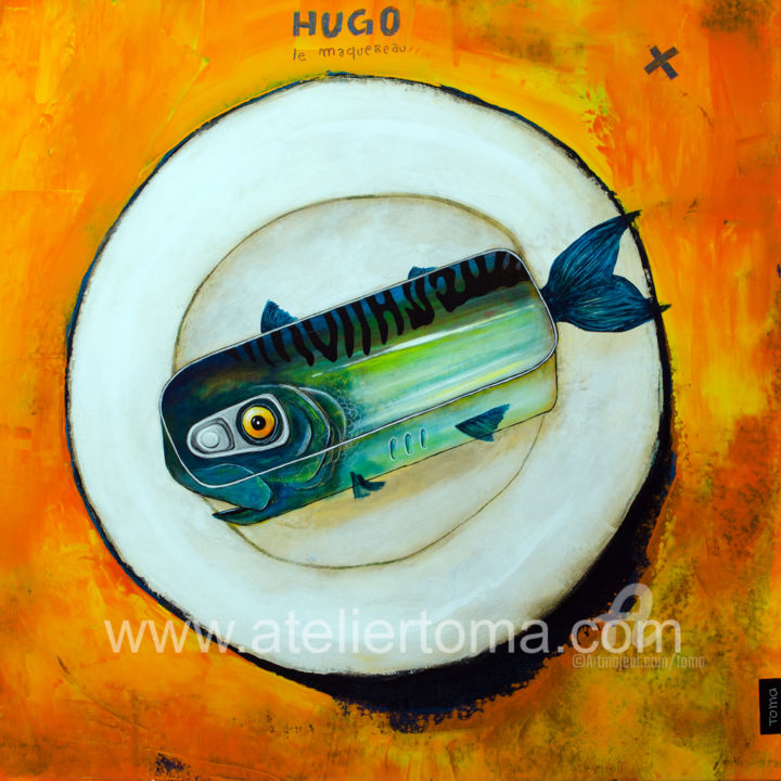 """Painting titled """"hugo le Maquereau"""" by Toma, Original Art, Acrylic Mounted on Stretcher frame"""
