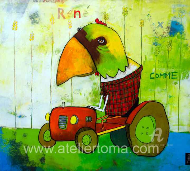 """Painting titled """"René"""" by Toma, Original Art, Acrylic Mounted on Stretcher frame"""