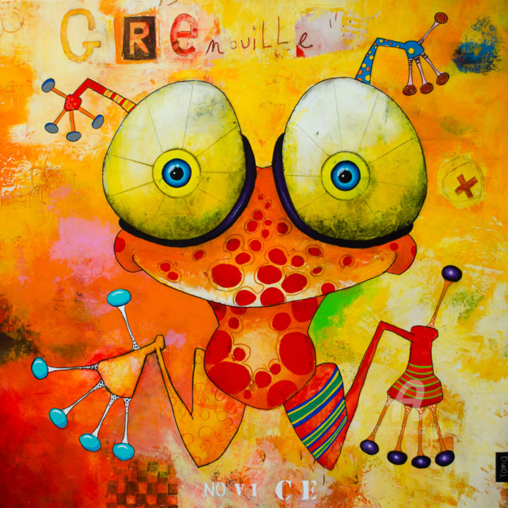 """Painting titled """"Grenouille Novice"""" by Toma, Original Art, Acrylic Mounted on Stretcher frame"""