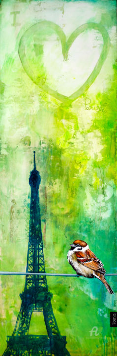 """Painting titled """"I Love Paris"""" by Toma, Original Art, Acrylic"""