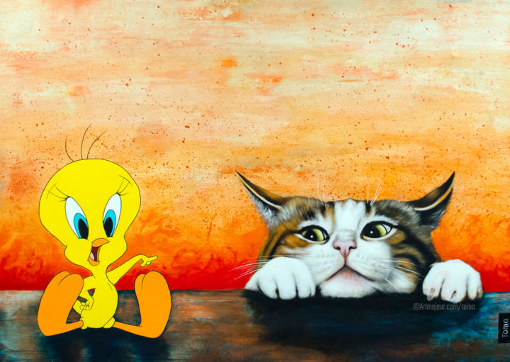"""Painting titled """"I Saw You"""" by Toma, Original Art, Acrylic Mounted on Stretcher frame"""