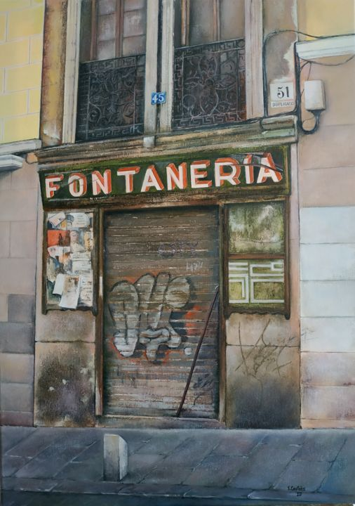 Antigua Fontanería - Painting,  27.6x19.7x0.8 in, ©2020 by Tomás Castaño -                                                                                                                                                                                                                                                                  Hyperrealism, hyperrealism-612, Architecture, Outer Space, Cityscape