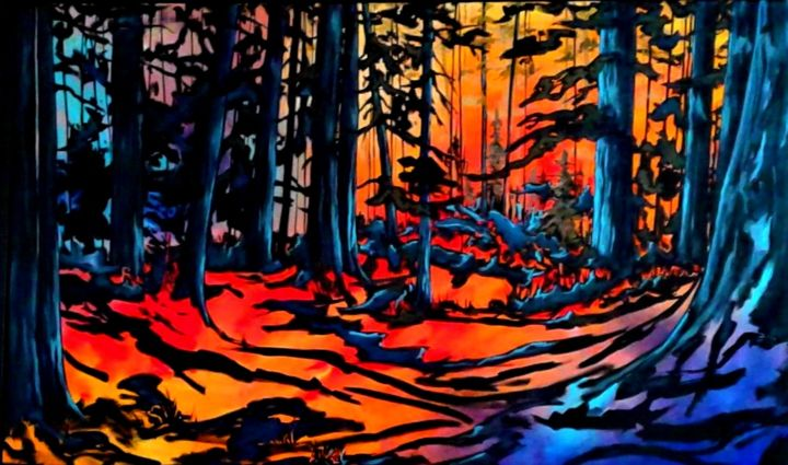 """Painting titled """"Forest Light"""" by Tom Steele, Original Art, Acrylic"""