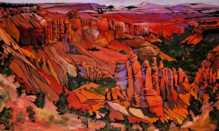 """Painting titled """"Bryce Canyon Sunset"""" by Tom Steele, Original Art, Acrylic"""