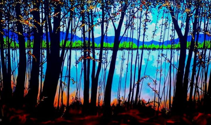 """Painting titled """"Autumn Reflections"""" by Tom Steele, Original Art, Acrylic"""