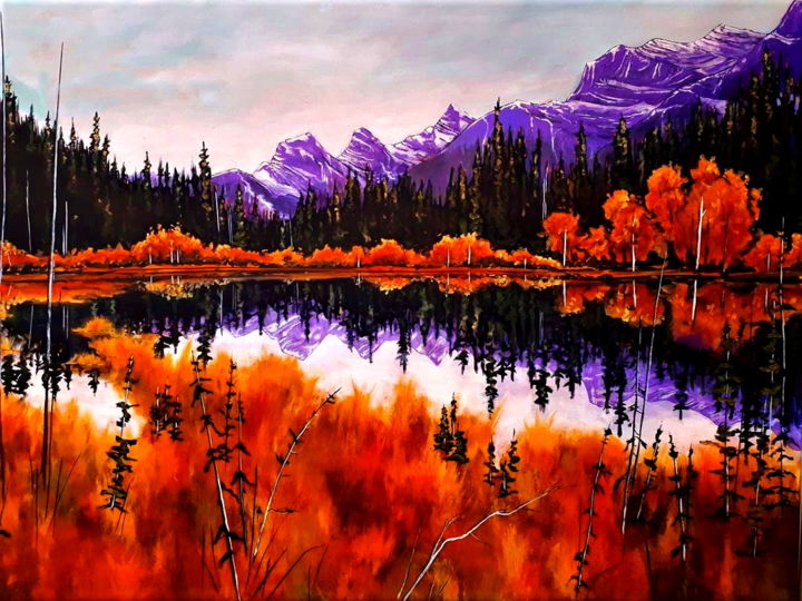 """Painting titled """"Three Sisters Refle…"""" by Tom Steele, Original Art, Acrylic Mounted on Stretcher frame"""
