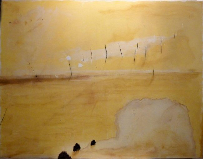 Les pierres brunes - Painting,  44.9x57.5 in, ©2012 by Philippe Roussel -