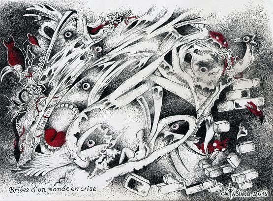BRIBES D'UN MONDE EN CRIS - Drawing,  82.7x114.2 in, ©2016 by Tonio Caltabiano -                                                                                                                                                                                                                                                                      Symbolism, symbolism-1020, Black and White, DESSIN, STYLO BILLE